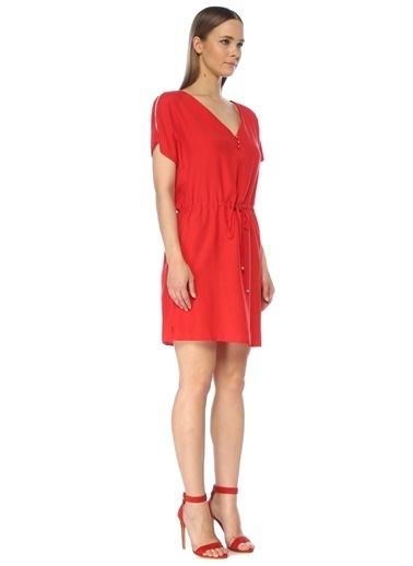 NetWork Kadın 1075258 V Yaka Beli Büzgülü Midi Elbise Kırmızı